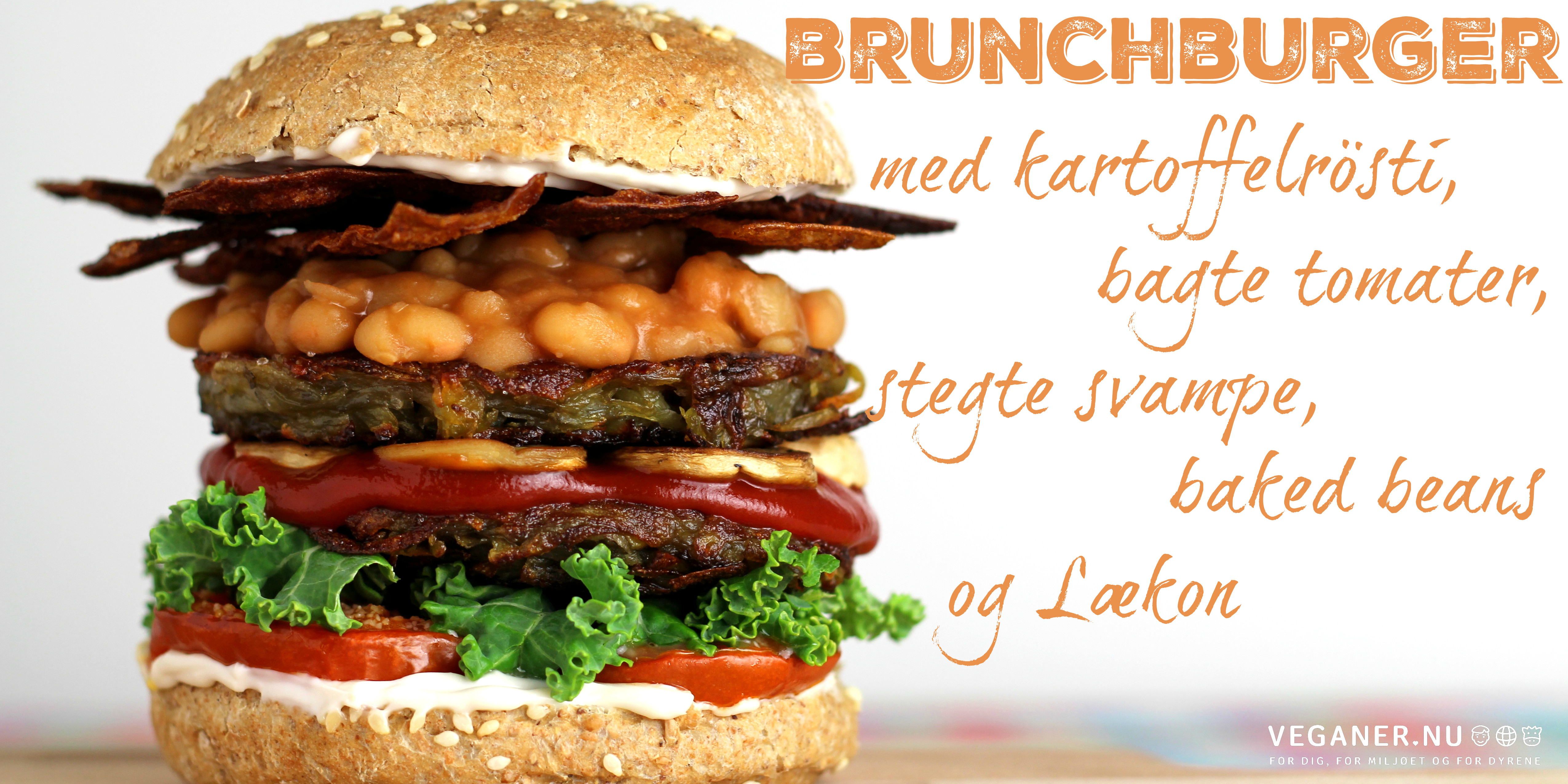 Veganer.nu-Brunchburger-Lækon-Læcon-Laekon-Rispapirsbacon-Rice-paper-bacon