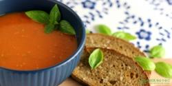 Tomatsuppe med friske tomater og basilikum